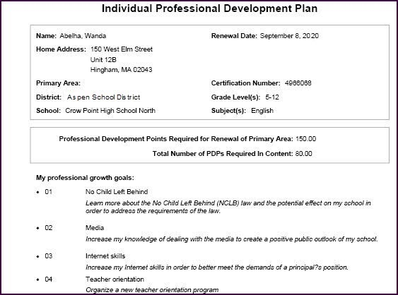 Print an individual professional development plan for District professional development plan template
